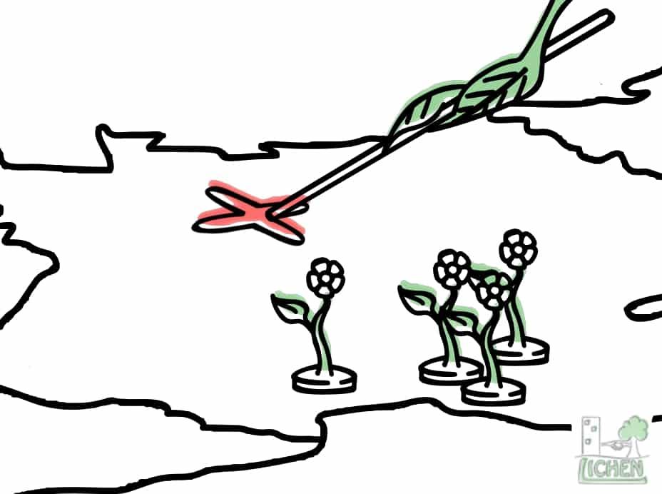 Dessin d'une plante planifiant l'invasion de la France