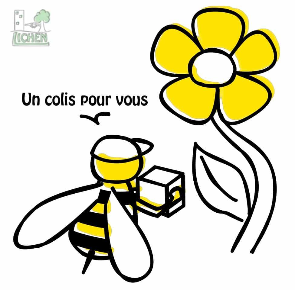Dessin d'une abeille livrant du pollen à une fleur