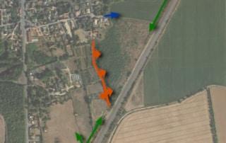 Carte des accès aux parcelles agricoles entre le hameau de Plagny et la RN7