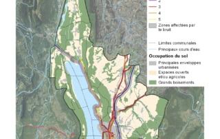 Carte du classement sonore des infrastructures de transport terrestre de Grand Lac Agglomération