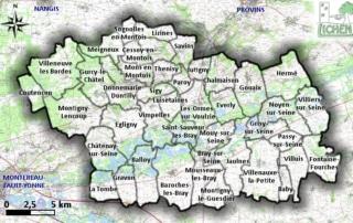 Carte des communes de Bassée-Montois