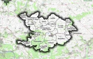 Carte des communes de la Brie Nangissienne