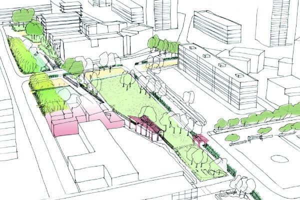 Croquis paysager du projet d'espace vert