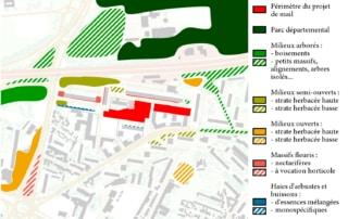Carte des types d'espaces végétalisés dans les Quartiers Nord de La Courneuve