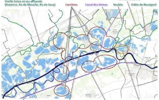 Carte schématique des éléments composant le réseau hydrographique de la Bassée