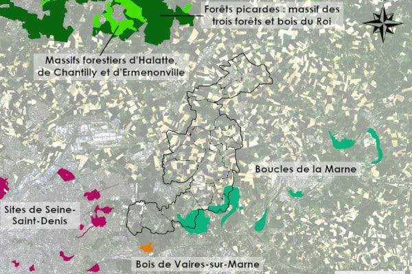 Carte des zones Natura 2000 du territoire de Plaines et Monts de France ou à proximité