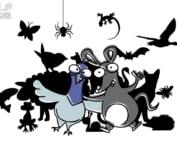 Dessin d'un pigeon et d'un rat devant les silhouettes d'autres animaux urbains