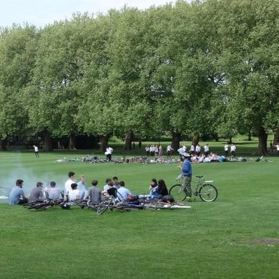 Groupe faisant un barbecue sur la pelouse d'un espace vert