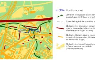 Carte des corridors écologiques locaux des Quartiers Nord de La Courneuve