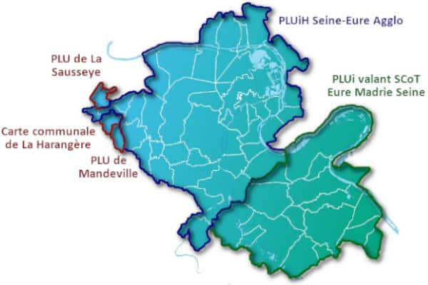 Périmètres des documents d'urbanisme de la Communauté d'agglomération Seine-Eure