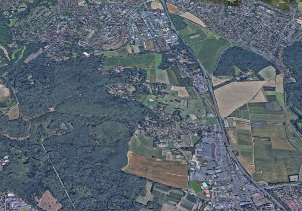 Vue aérienne de la commune de Piscop